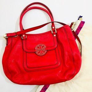 Tory Burch Red Amanda Leather Hobo Handbag